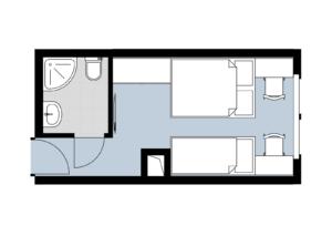 Hotel Špica Laško - tloris - dvoposteljna soba z dodatnim ležiščem